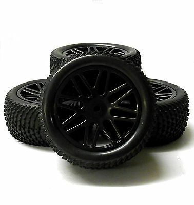 A66071/091 1/10 Off Road Front Rear Buggy RC Wheels Grass Tyres 16 Spoke Black
