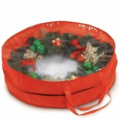 Bnwt Christmas Wreath Garland Storage Bag Zip Up Round Red With Clear Top