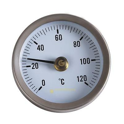 Pipe Thermometer Temperature Gauge w/ Clip-On Spring 0-120℃ 63mm Dial