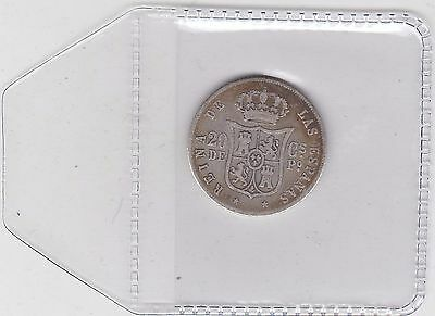 1865 Silver 20 Centimos From Spain In Used Fine Or Better Condition
