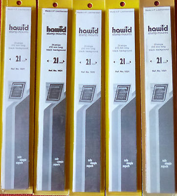 HAWID STAMP MOUNTS 21mm BLACK - 5 x Packs of 25 Strips 210mm x 21mm - SALE PRICE