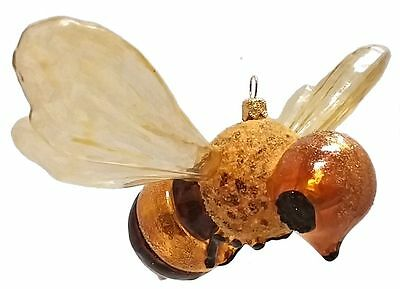 Large Honey Bee Polish Glass Christmas Ornament Decoration  Bug Insect