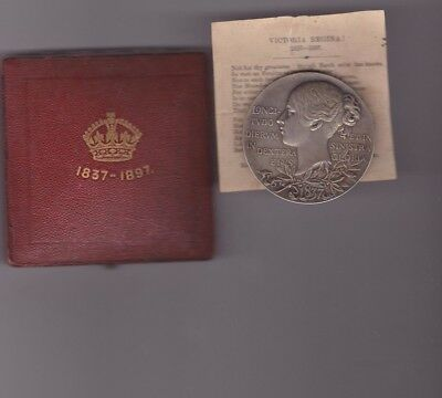 Large 1897 Boxed Victoria Diamond Jubilee Silver Medal