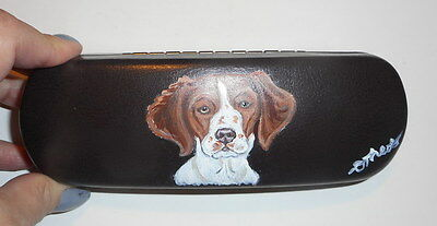 Brittany spaniel Dog Hand Painted Eyeglass case faux Leather