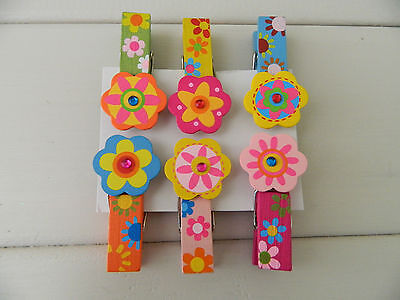 Gisela Graham Wooden Painted Decorative Jewel Pegs (set of 6)/ Girls /Gift