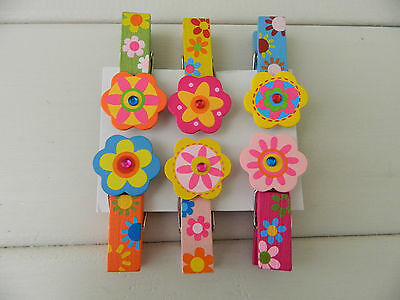 Gisela Graham Wooden Painted Decorative Pegs (set of 6)/ Girls bedroom/Gift