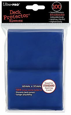 100 Deck Protector Sleeves Ultra Pro Magic STANDARD BLUE Blu Bustine Protettive