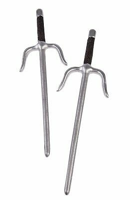 Ninja Sais Daggers Warrior Silver Saber Set Toy Plastic Weapon Costume Accessory