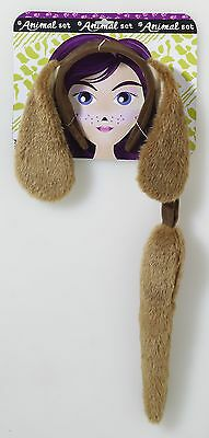 Dog Brown Puppy Animal Ears Headband Tail Costume Kit Set Accessory Adult Child