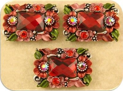 2 Hole Beads Flowers & Facets Red Siam Swarovski Crystal Elements Sliders QTY 3