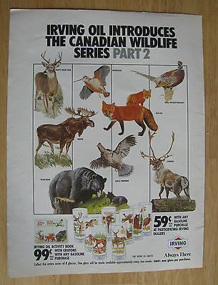 1012 Magazine Ad: Irving Oil Loyalty 'Canadian Wildlife' Decorated Glasses 1987