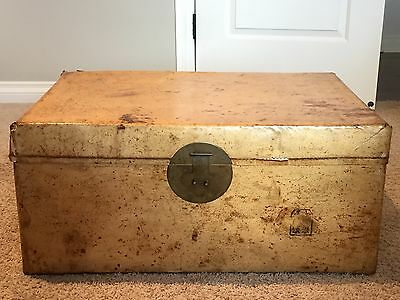 Large Antique Chinese Pigskin Leather Gold Chest Trunk Coffee Table 1800s
