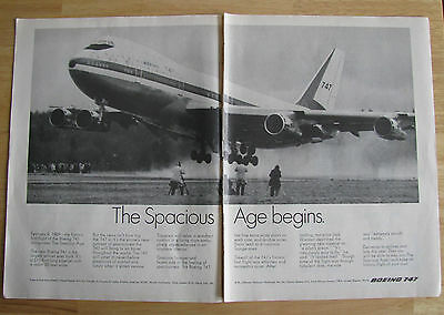 1013 Double page Ad: The Spacious Boeing 747 Jetliner Aircraft 1971