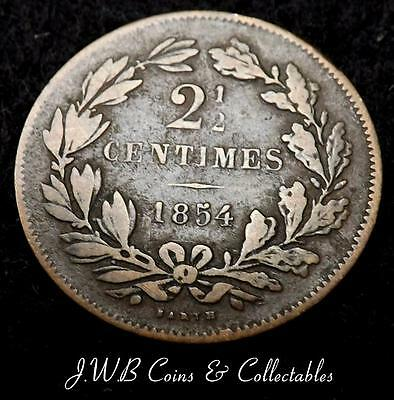 1854 Luxembourg 2 & 1/2 Cents Coin - Ref ; T/M