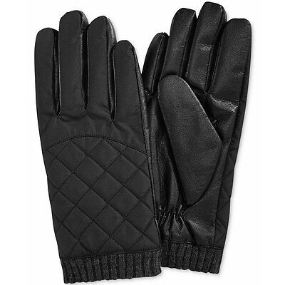 ISOTONER Black Mens Quilted Tech smarTouch THERMAflex Winter Gloves M NEW