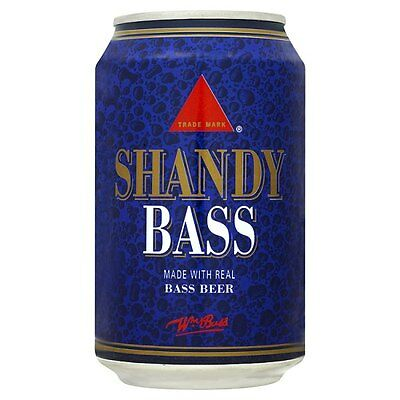 Bass Shandy 330ml can fizzy soft drink case of 24