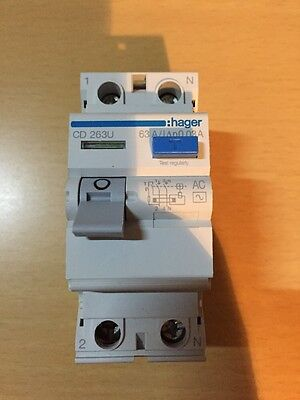 Hager 63 Amp RCD Brand New 30mA Trip Switch Circuit Breaker