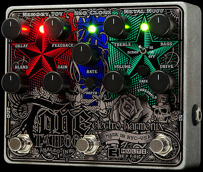 USED ELECTRO HARMONIX TONE TATTOO DISTORTION CHORUS & DELAY PEDAL w/ 0$ US S&H