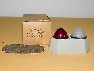 "Vintage 3 3/4"" High Red White Indicator Lights Unused In Box Nos"