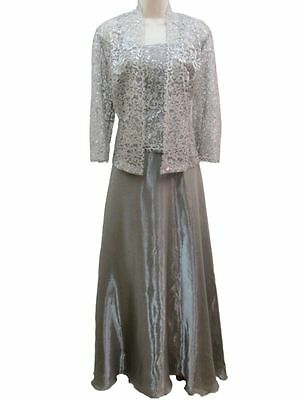 Karen Miller Clay 2 PC Set Lace Long Gown Wedding Mother Bride Groom Dress NEW