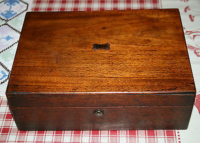 Antique Victorian Solid Mahogany Campaign Writing Slope Box Drawer Office Wooden
