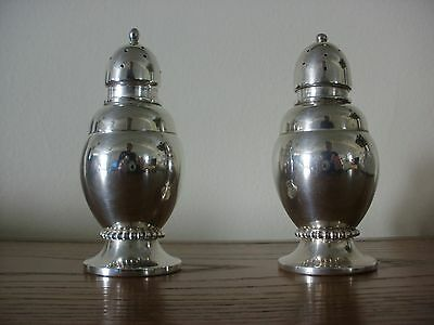 "RANDAHL Solid STERLING SILVER Vintage SALT & PEPPER SHAKERS 4"" Tall VG       325"