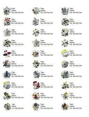 30 Personalized Address Labels Flowers All Pictures Buy 3 get 1 free (d12)