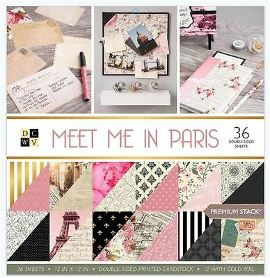 """DCWV 12""""x12"""" Cardstock Stack MEET ME IN PARIS Double Sided Printed ~PS-005-00530"""