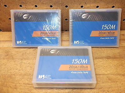 DELL Data Tape 150M 20GB/40GB 4mm 09W083 Computer Set of 3 New Sealed!