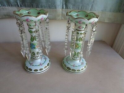 Pair antique luster candle sticks bought Italy 1968 from dealer 8 1/4 in. green