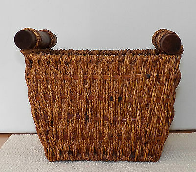 Lovely Decorative Collectible Rectangular Woven Basket With Round Wooden Handles