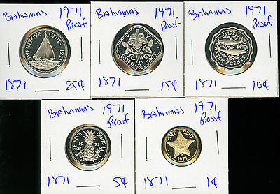 Bahamas - 1971 Proof - 25-15-10-5-1 - 5 Coins