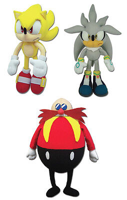 NEW Set of 3 GE Sonic the Hedgehog - Super Sonic/Silver/Dr. Eggman Plush Toys