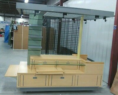 kiosk stand. COMMERCIAL. 10 track lights drawer extensions keyed storage NICE