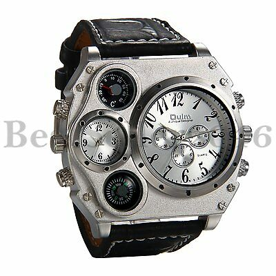 Mens Military Large Dial Black Leather Band Luxury Sport Dual Time Wrist Watch