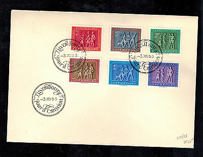 1953 Luxembourg First Day Cover FDC # B174-B179 Complete Set
