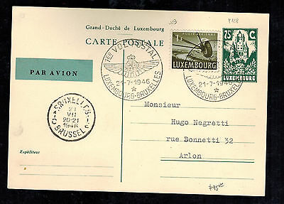 1946 Luxembourg First FLight Cover to Brussels Belgium FFC Postcard