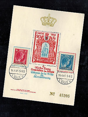 1945 Luxembourg Used Special Issue 20 F Souvenir Sheet Stamp Notre Dame