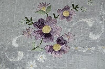 The Purple Flower Effect! Vintage German Hand Embroidered Spring Tablecloth