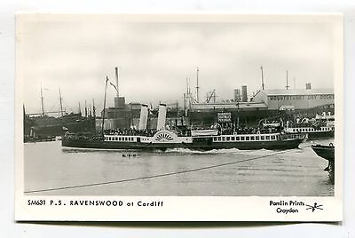 PS Ravenswood - paddle steamer at Cardiff - Pamlin REPRODUCTION postcard