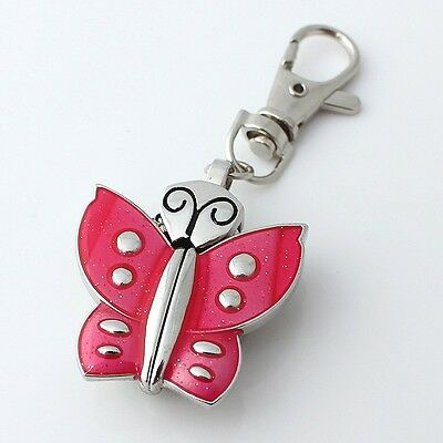 Colorful Butterfly Fashion Girl Pocket Pendant Kry Ring Metal Watches GL08K