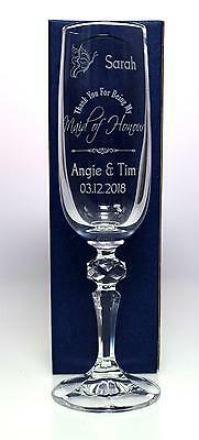 (GD) Personalised WEDDING MAID OF HONOUR BUTTERFLY Champagne Flute Glass Gift