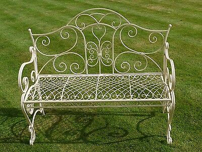 vintage ornate metal garden bench, outdoor patio bench