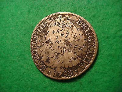 1783 Spanish silver 8 reals Mexico City mint with chop marks AA59