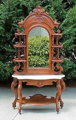 Victorian Highly Carved Walnut Marble Top Etagere Foyer Table Stand circa 1875