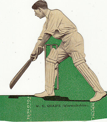 Cricket Trade Card of Cricketer W.G.Quaife Warwickshire  CCC 'The Magnet'