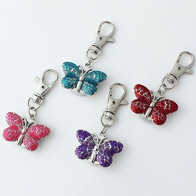 10PCS Mixed Colors Lovely Butterfly Pocket Watch Kry Ring Chain Watches GL36KT