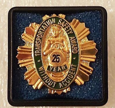Transportation Safety Award 25 Years Without An Accident Lapel Pin Canadian