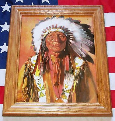 Framed Indian Wars Painting, Mort Kunstler, Burle Sioux CHIEF HIGH HORSE
