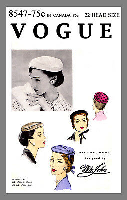 Vintage Vogue Millinery Designer  Mr John Pillbox Hat Fabric sew pattern # 8547